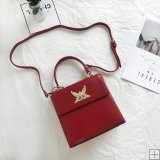 leather retro lifting oblique cross lock female bag